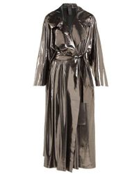 Norma Kamali - Tie-waist Metallic Trench Coat - Lyst