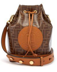 7b2522af8f83 Fendi - Mon Tresor Ff Jacquard Leather Bucket Bag - Lyst
