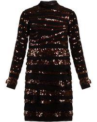 Bottega Veneta - Sequin-striped Velvet Mini Dress - Lyst