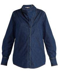 Stella McCartney - Handkerchief-neck Denim Shirt - Lyst