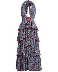 Gül Hürgel   Floral-print Halterneck Tiered Cotton Dress   Lyst