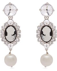 Miu Miu - Cameo, Faux Pearl And Crystal Clip On Earrings - Lyst
