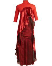 Paula Knorr - Drape Jersey And Silk-blend Lamé Dress - Lyst
