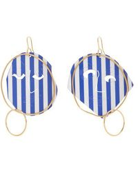 JW Anderson - Moon Face Striped Earrings - Lyst
