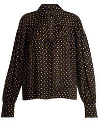 JOSEPH - Crosby Polka-dot Print Tie-neck Silk-chiffon Shirt - Lyst