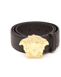 Versace - Palazzo Medusa Head Belt - Smooth Leather Black/gold - Lyst