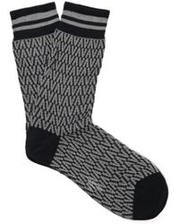Valentino - Optical Intarsia Knit Cotton Blend Socks - Lyst