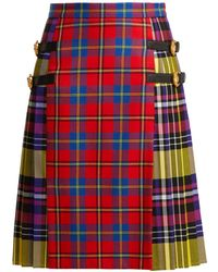 Versace - Check Print Wool And Leather Kilt - Lyst