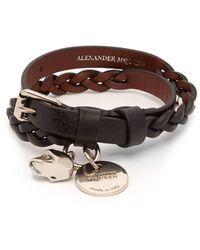 Alexander McQueen - Skull And Stud Leather Wrap Bracelet - Lyst