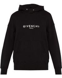 Givenchy Logo Print Cotton Hooded Sweatshirt - Black