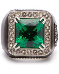 Gucci - Crystal Embellished Signet Ring - Lyst