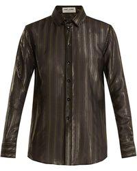 Saint Laurent - Point-collar Striped Silk-blend Blouse - Lyst