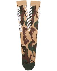 Off-White c/o Virgil Abloh - White Wings Camouflage Print Ribbed Knits Socks - Lyst
