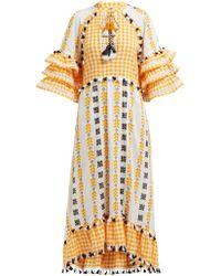 Dodo Bar Or Lola Ruffle Sleeve Cotton Maxi Dress - Yellow