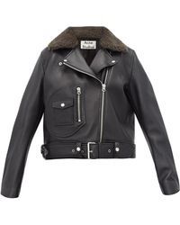 Acne Studios - Merlyn Shearling Collar Leather Biker Jacket - Lyst