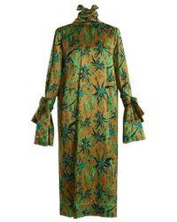 Marni - Long-sleeved Herbage-print Midi Dress - Lyst