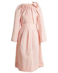 Maison Rabih Kayrouz - Tie-neck Gathered Paper-taffeta Dress - Lyst