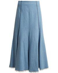 Gabriela Hearst - Amy Embroidered A-line Denim Midi Skirt - Lyst