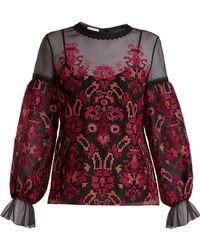 Oscar de la Renta - Cross-stitch Embroidered Silk-organza Top - Lyst