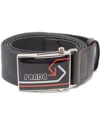 Prada - Logo Canvas Belt - Lyst
