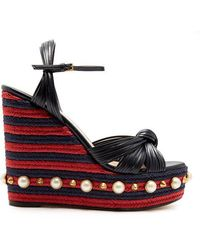 Gucci - Pearl-embellished Leather Wedge Sandals - Lyst
