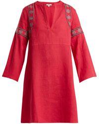 DAFT - Pantelleria Embroidered-linen Kaftan Dress - Lyst