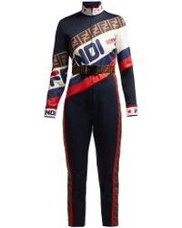 fac153ff48d8 Fendi - Mania Logo Piqué Jersey Jumpsuit - Lyst
