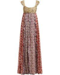 Valentino - Spring Garden Print Silk Chiffon Gown - Lyst