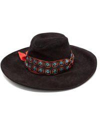 Etro - Ribbon Trim Suede Hat - Lyst