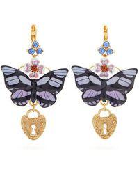 Dolce & Gabbana - Butterfly And Heart-drop Earrings - Lyst