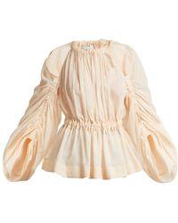 Fendi Ruched Cotton Voile Top