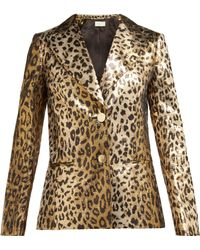 Sara Battaglia - Single Breasted Leopard Print Lamé Jacket - Lyst