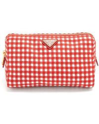 Prada - - Gingham Woven Make Up Bag - Womens - Red - Lyst