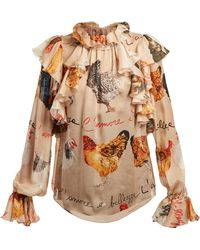 Dolce & Gabbana - Hen Print Blouse - Lyst