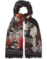 Alexander McQueen - Skull And Seashell Print Scarf - Lyst