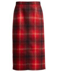 N°21 - Tartan Felted Midi Skirt - Lyst
