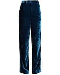 Jupe by Jackie - Moritz Embroidered Silk-velvet Trousers - Lyst