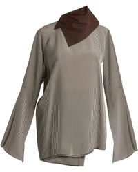 Acne | Beau Draped-neck Checked Top | Lyst
