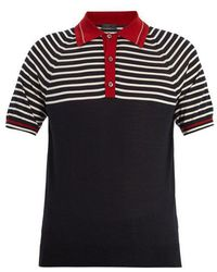 Prada - Striped Cashmere And Wool-blend Polo Shirt - Lyst