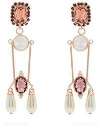 Erdem - - Crystal And Faux Pearl Embellished Drop Earrings - Womens - Burgundy - Lyst