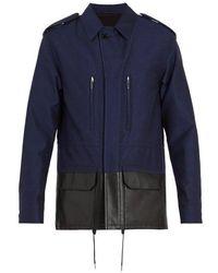 Berluti - - Veste en coton mélangé à empiècement en cuir - Lyst