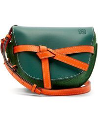 Loewe - Gate Small Grained-leather And Felt Cross-body Bag - Lyst