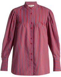 Diane von Furstenberg - Pleated Mandarin Collar Shirt - Lyst