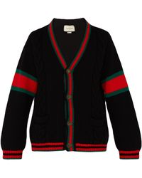 Gucci - Oversize Cable Knit Wool Cardigan - Lyst