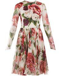 Dolce & Gabbana - Peony And Rose-print Chiffon Mini Dress - Lyst