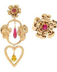 Rodarte - Flower Asymmetric Gold-plated Earrings - Lyst