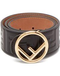Fendi - Logo Embossed Leather Belt - Lyst
