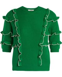 Valentino - Ruffle Trimmed Ribbed Knit Cotton Sweater - Lyst