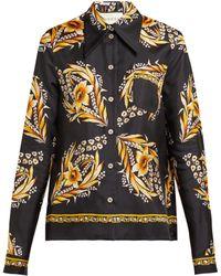 0d8126d8 Gucci - Floral Print Silk Twill Shirt - Lyst