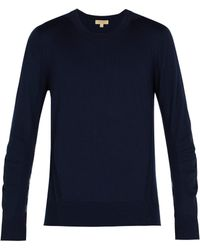 Burberry - Check Insert Merino Wool Jumper - Lyst
